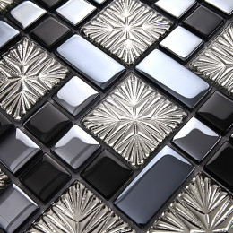 Black and Blue Glass Tile Backsplash Silver Clear Crystal Mosaic Snowflake Patterns Bathroom Wall Tiles