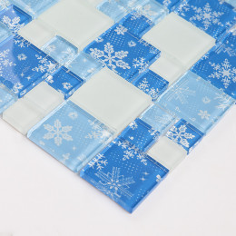 Blue Glass Kitchen Backsplash Tile Snowflake Designs White Matte Crystal Bathroom Wall Tiles