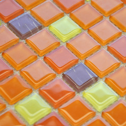 Orange Glass Tile Kitchen Backsplash Thin Crystal Mosaic Floor Tiles Glam Bathroom Decor