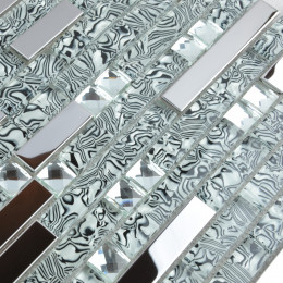 Silver Stainless Steel and Glass Backsplash Tiles Zebra Striped Crystal Rhinestone Mosaic Metallic Tile