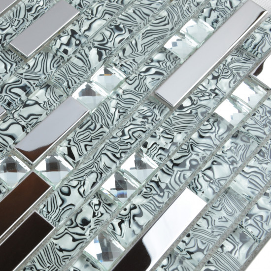 Silver Stainless Steel and Glass Backsplash Tiles Zebra Striped Crystal Rhinestone Mosaic Metallic Tile