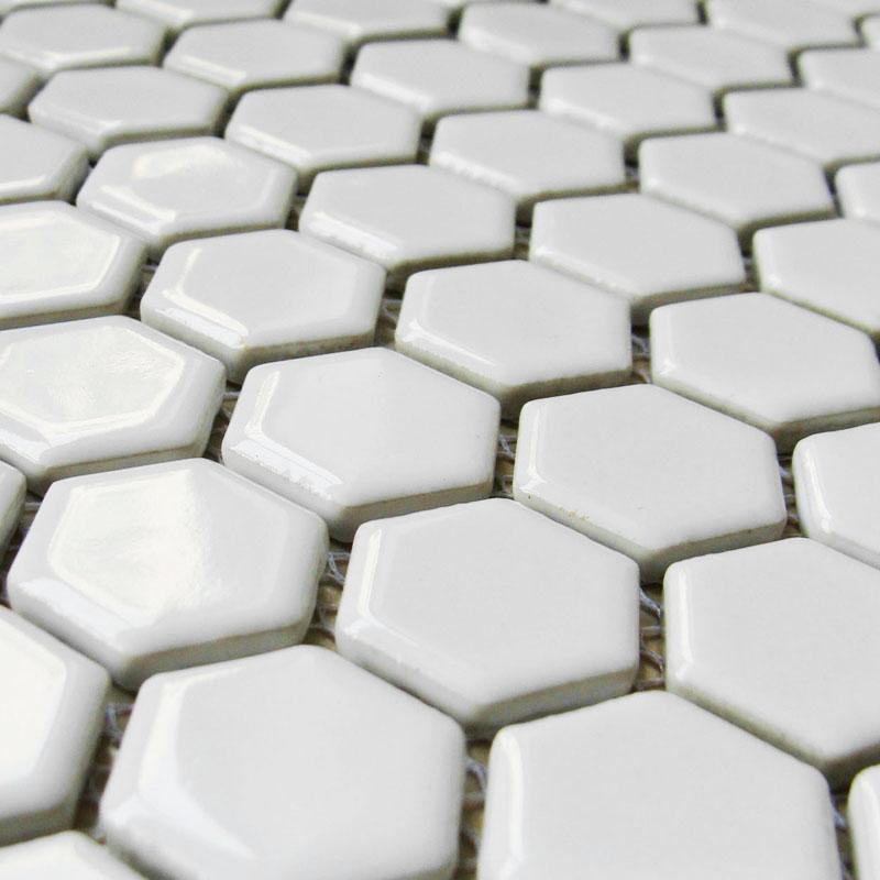 White Shiny Ceramic Mosaic Hexagon