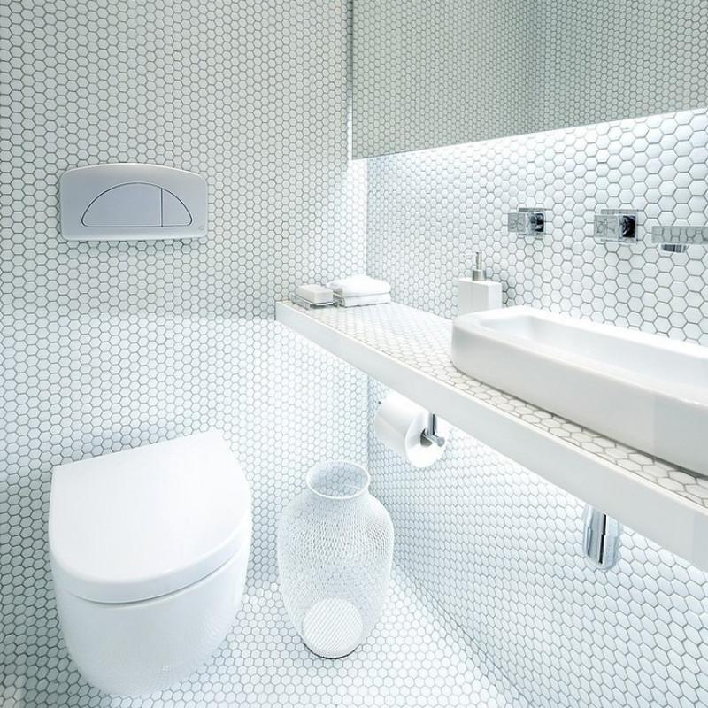 White Shiny Ceramic Mosaic Hexagon Porcelain Tile Fifyh Com