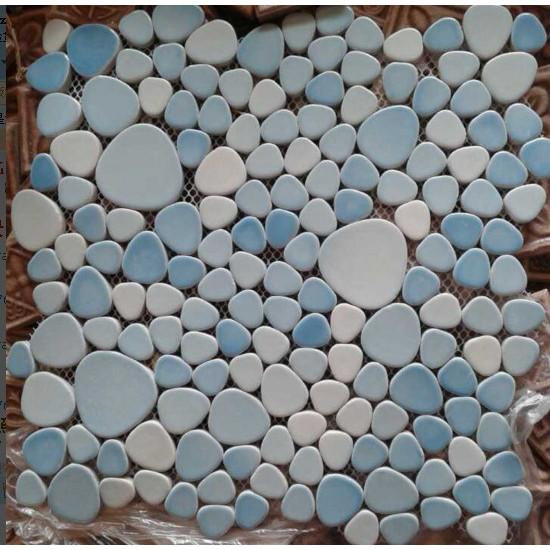 Blue and White Porcelain Pebble Tile Glossy Ceramic Mosaic Floor Tile Bathroom Backsplash Tiles