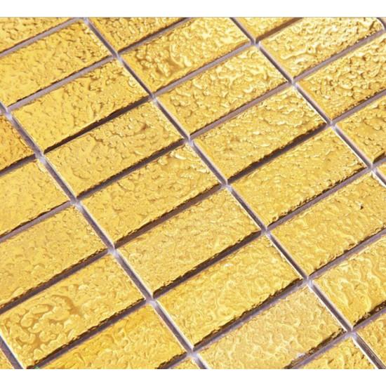 Luxury Gold Ceramic Brick Slip-Resistant Rectangle 1 x 2 In. Porcelain Tile Glitter Bathroom Floor Tiles