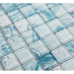 Hand Painted Glass Tile Backsplash, Blue Bathroom Wall Tiles, Crystal Shower Accent Tile