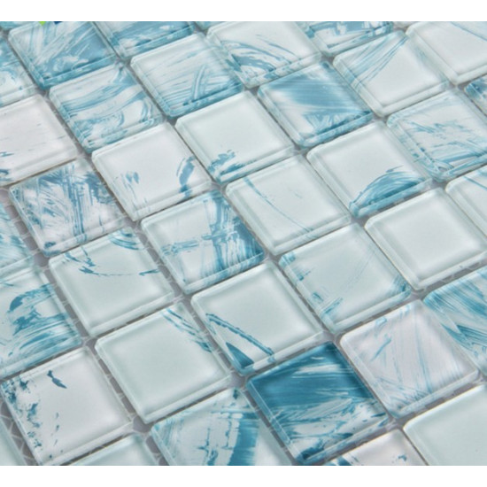 Hand Painted Glass Tile Backsplash, Blue Bathroom Wall Tiles, Crystal Shower Accent Tile