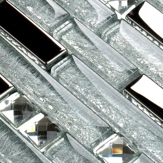 Silver Stainless Steel Tile Clear Crystal Glass Backsplash Random Interlocking Mosaic Tiles