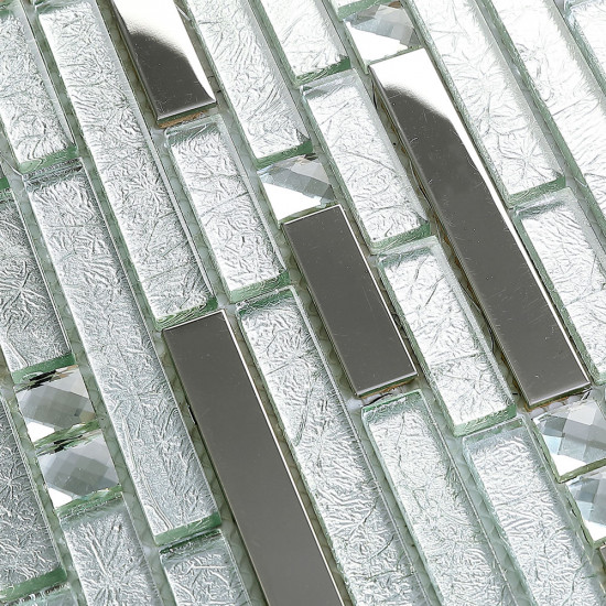 Silver Stainless Steel Tile Crystal Glass Backsplash Metallic Tiles Rhinestone Mosaic Bathroom Tile